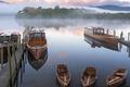 Картинка туман, лодка, Англия, причал, Камбрия, Lake District National Park
