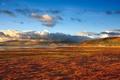 Картинка небо, облака, пейзаж, закат, горы, природа, озеро, холмы