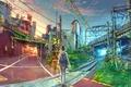 Картинка город, yuumei, железная дорога, Wenqing Yan, арт, девушка, мост