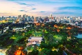 Картинка park, парк, деревья, lamps, trees, buildings, фонари, здания