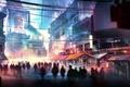 Картинка ночь, город, люди, толпа, арт, рынок, базар, район
