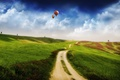 Картинка 157, поле, холмы, Дорога, шары, облака