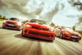 Картинка Top Gear, Red, Cars, Front, BMW M6, Nissan GT-R, Track, Chevrolet Camaro Z28