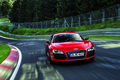 Картинка Audi, Красный, Деревья, Скорость, Трасса, Перед, V10, E-Tron