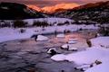 Картинка снег, Река, горы, зима