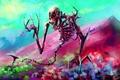 Картинка цветы, кости, скелет, арт, череп, Por-t-falatron, WONDERLAND