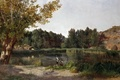 Картинка охотник, картина, Озеро, природа, деревья, Карлос де Хаэс, пейзаж