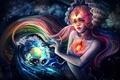 Картинка Yangtian Li, арт, сердце, русалка, лицо, под водой, пузырьки, сфера, ракушки, девушка