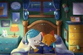 Картинка животные, предметы, интерьер, кровать, книга, лисенок, полумесяц, медвежонок