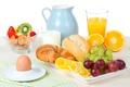 Картинка яйцо, сыр, Strawberry, bun, булочка, клубника, виноград, кувшин, завтрак, апельсины, Grape, Orange, молоко, сок, Breakfast, ...