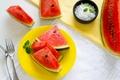 Картинка watermelon slices of watermelon, дольки арбуза, арбуз, mint leaves, листики мяты