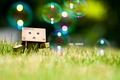 Картинка Danboard, danbo, box, robot, toy, трава, пузыри, grass, bubbles