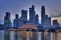 Картинка singapore, мост, дома, небоскреб, огни, вечер, небо, облака