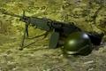 Картинка оружие, M249, ручной, каска, Minimi, пулемёт