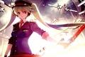 Картинка hatsune miku, vocaloid, жезл, небо, фуражка, униформа, самолеты