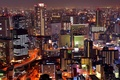 Картинка ночь, огни, дома, Япония, мегаполис, вид сверху, Osaka