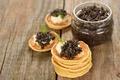 Картинка праздник, черная, блины, икра, выпечка, масленица, Caviar, Pancake