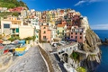 Картинка лодки, Лигурийское побережье, Италия, Манарола, дома, скалы, Чинкве-Терре