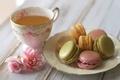 Картинка цветы, чай, чашка, печенье, розы, тарелка, macaron, макарун, розовые