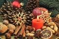 Картинка сладости, Xmas, Новый Год, Merry, печенье, Рождество, nuts, орехи, Christmas, фрукты, decoration, корица