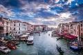 Картинка gondola, Италия, Venecia, sunset, Italia, гондола, лодки, канал, boats, canal, Венеция, закат