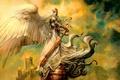 Картинка рисунок, ангел, меч, greg staples