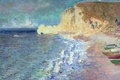 Картинка Клод Моне, картина, море, лодки, Утро в Этрета, берег, пейзаж