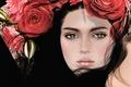 Картинка брюнетка, венок, глаза, девушка, лицо, розы, волосы