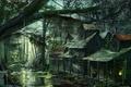 Картинка деревня, постройки, арт, болото, дома, люди, лес
