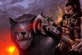 Картинка волк, арт, топор, орк, warcraft