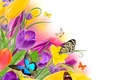 Картинка цветы, flowers, spring, yellow, butterflies, purple, tulips, тюльпаны, бабочки, colorful, fresh, beautiful, весна