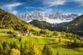 Картинка Альпы, Италия, горы, деревня, облака, небо, долина, лес