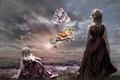 Картинка девочка, шарики, Takis Poseidon, арт, небо, кони
