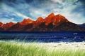 Картинка горы, природа, небо, трава, река, облака