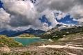 Картинка Горы, облака, снег, озеро