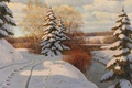 Картинка картина, снег, елки, зима, деревья, берег, Борис Бессонов, пейзаж, река, березы, следы