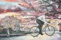 Картинка велосипед, город, Япония, скорость, акварель
