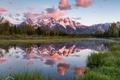 Картинка США, облака, река, небо, лес, горы, свет
