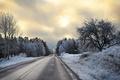 Картинка зима, дорога, перспектива, утро