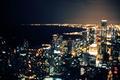 Картинка боке, Чикаго, Иллинойс, ночь, огни озеро