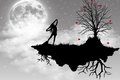 Картинка дерево, вектор, луна, девушка