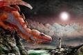 Картинка Дракон, солнце, девушка, камни