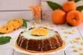 Картинка мандарин, сладкое, крем, цитрус, пирог, тарелка