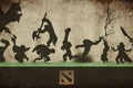 Картинка оружие, персонажи, фон, фигуры, Dota 2, лого, трава, силуэты