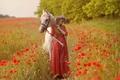Картинка конь, настроение, девушка, поле, природа, маки