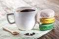 Картинка кофе, макарони, пирожное, французкие сладости