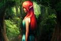Картинка девушка, Эльфийка, рыжая, голубое платье, деревья, искры, роща