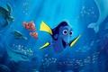 Картинка colorful, cinema, Pixar, ocean, octopus, eyes, movie, animal, fish, film, tropical, reef, whale, turtle, jellyfish, ...
