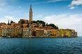 Картинка море, здания, Хорватия, Istria, Croatia, Адриатическое море, Ровинь, Rovinj, Adriatic Sea, Истрия, Church of St ...