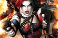 Картинка fantasy, fire, bullets, gun, comics, Harleen Frances Quinzel, art, Suicide Squad, Harley Quinn, weapons, shoot, ...